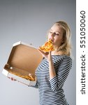 beauty young woman with pizza... | Shutterstock . vector #551050060