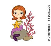 beautiful little mermaid with a ... | Shutterstock .eps vector #551051203