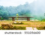 wooden bench on mountain for...   Shutterstock . vector #551056600
