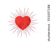 red heart symbol with sunburst. ... | Shutterstock .eps vector #551057188