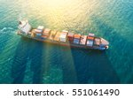 container ship in export and... | Shutterstock . vector #551061490