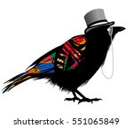 black raven with hat   vector... | Shutterstock .eps vector #551065849