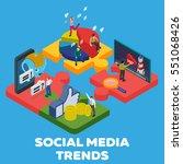 trends in social media 2018.... | Shutterstock .eps vector #551068426