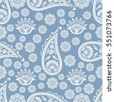 paisley floral seamless pattern.... | Shutterstock .eps vector #551073766