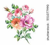 watercolor bouquet of flowers | Shutterstock . vector #551077990