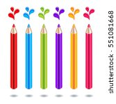 colored pencils with color... | Shutterstock .eps vector #551081668
