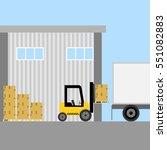 loader  forklift loading boxes  ... | Shutterstock .eps vector #551082883