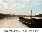 evening boat on the river | Shutterstock . vector #551091514