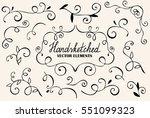 big floral set for design  hand ... | Shutterstock .eps vector #551099323