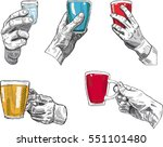 set of hands with glasses in... | Shutterstock .eps vector #551101480