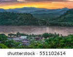 luang prabang in laos with... | Shutterstock . vector #551102614