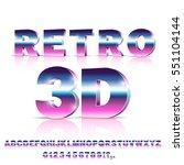 3d sci fi 80's retro alphabet... | Shutterstock .eps vector #551104144
