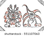 two cute doodle fantasy monster ... | Shutterstock . vector #551107063