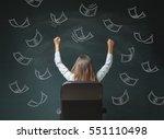 rear view businesswoman sitting ... | Shutterstock . vector #551110498