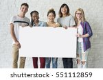 group of friends holding blank... | Shutterstock . vector #551112859