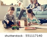 family spend time happiness... | Shutterstock . vector #551117140