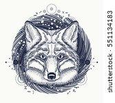 fox tattoo. symbol of a travel  ... | Shutterstock .eps vector #551134183