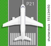 airplane and airport elements... | Shutterstock .eps vector #551134450