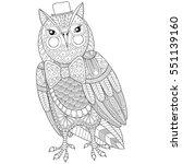 zentangle owl painting for... | Shutterstock .eps vector #551139160