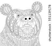 vector zentangle bear head for... | Shutterstock .eps vector #551139178