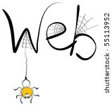 cartoons comic spider and web . ... | Shutterstock . vector #55113952