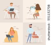 concept of the coworking center.... | Shutterstock .eps vector #551152708