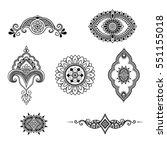 henna tattoo flower template.... | Shutterstock .eps vector #551155018