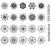 set of mehndi flower pattern...   Shutterstock .eps vector #551155024