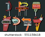 vector retro billboards vintage ... | Shutterstock .eps vector #551158618