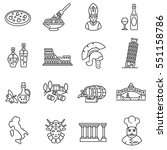italy icons set. tourism and... | Shutterstock .eps vector #551158786