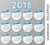 2018 year calendar design.... | Shutterstock .eps vector #551159410