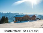 beautiful winter view of chalet ... | Shutterstock . vector #551171554