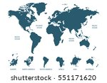 blue world map vector on white... | Shutterstock .eps vector #551171620