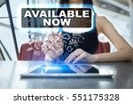 Small photo of Woman using tablet pc and selecting available now.