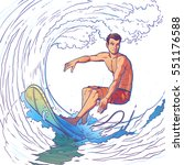 vector illustration of a surfer | Shutterstock .eps vector #551176588