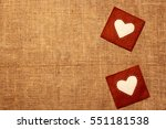 Two Hearts Of Felt On Burlap...