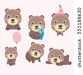 set of illustrations with bears.... | Shutterstock .eps vector #551188630