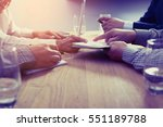 business partners discussing... | Shutterstock . vector #551189788