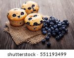 Muffin With Blueberries On A...