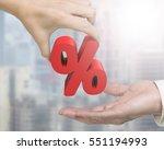 woman hand giving 3d red... | Shutterstock . vector #551194993
