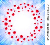circles of hearts in a round... | Shutterstock .eps vector #551195110