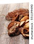 different kinds of bread rolls... | Shutterstock . vector #551199490