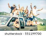 group of friends driving on the ... | Shutterstock . vector #551199700