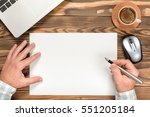 Working Desk In Office, View From Top With Available Copy Space - stock photo