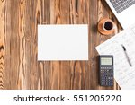 Rustic Wooden Desk In Office With Various Gadgets, View From Top With Available Copy Space - stock photo