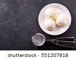 plate of ice cream scoops on... | Shutterstock . vector #551207818