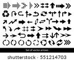 vector set of black arrows on a ... | Shutterstock .eps vector #551214703