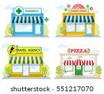 set of front facade buildings ... | Shutterstock .eps vector #551217070