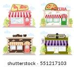 set of front facade buildings ... | Shutterstock .eps vector #551217103