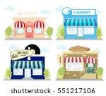 set of front facade buildings ... | Shutterstock .eps vector #551217106